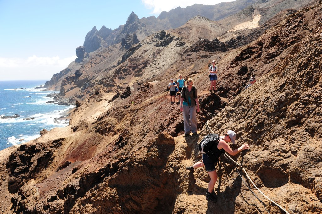 Hiking to Lot's Wife's Pools in Saint Helena.