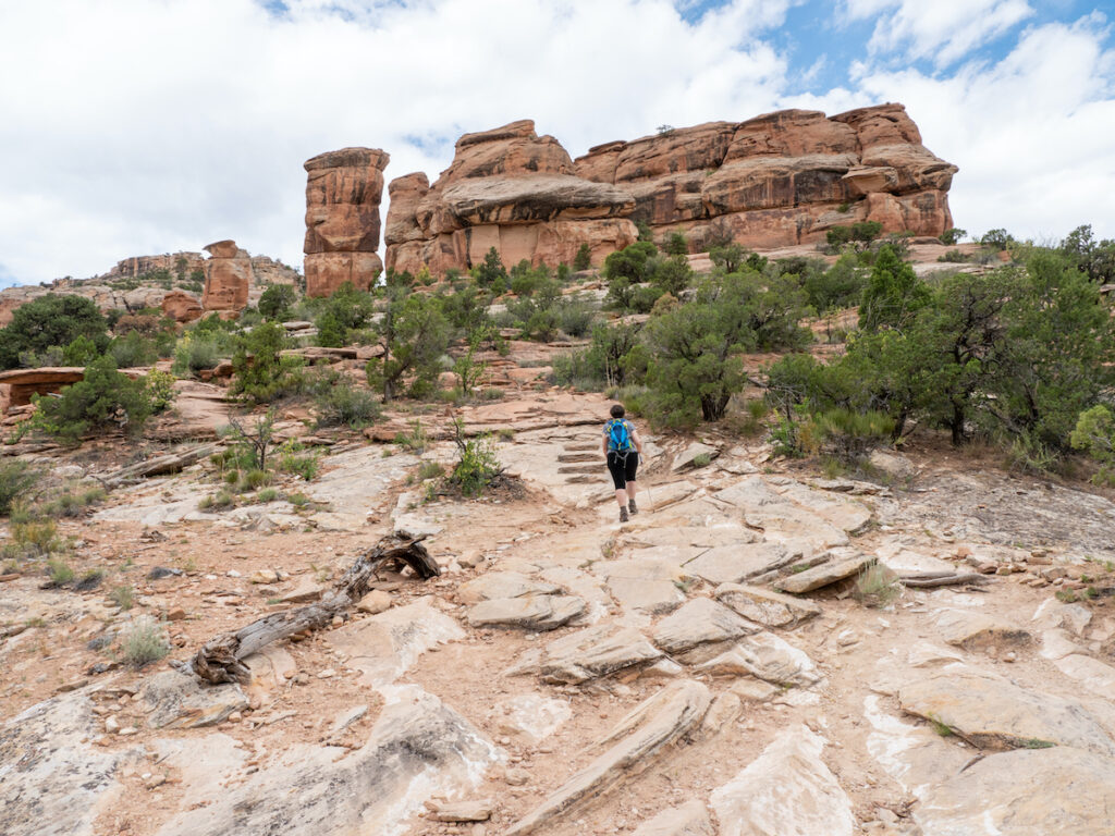 Hiking up to the Devils Kitchen at Colorado National Monument.