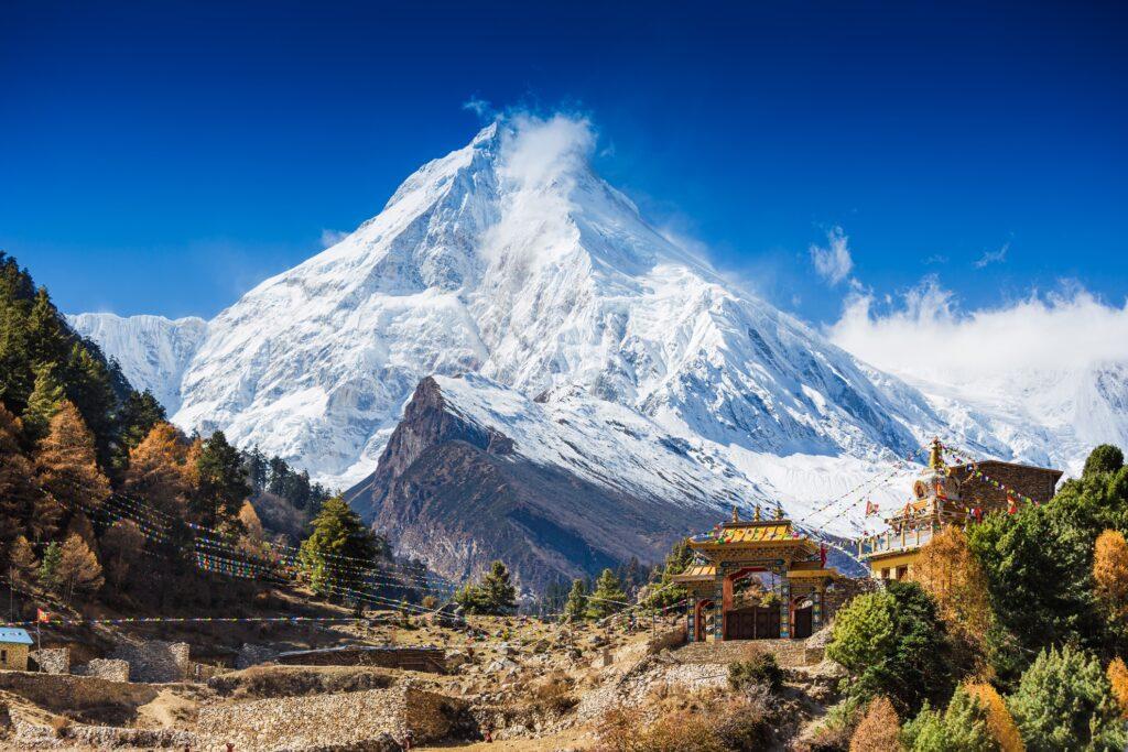 Himalayan mountain Manaslu in Nepal.