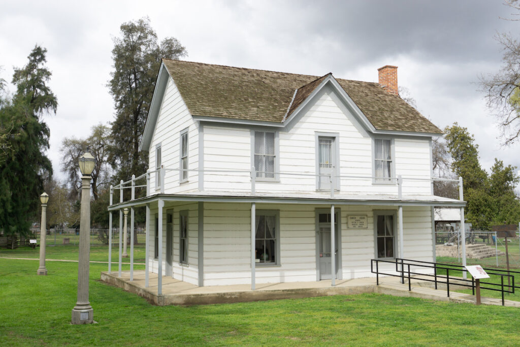 Historic building on the grounds of Tulare County Museum.