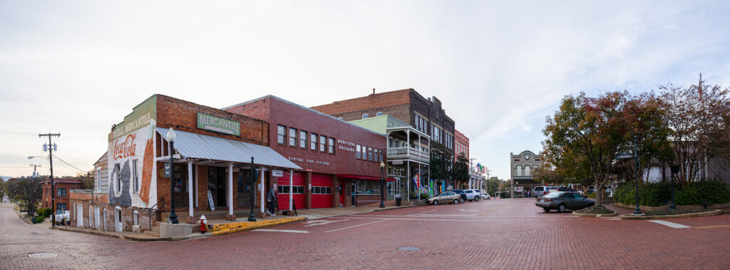 Historic buildings in downtown Nacogdoches, Texas.