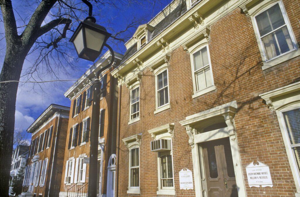 Historic buildings in New Castle, Delaware.