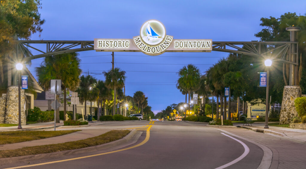 Historic downtown Melbourne in Florida.