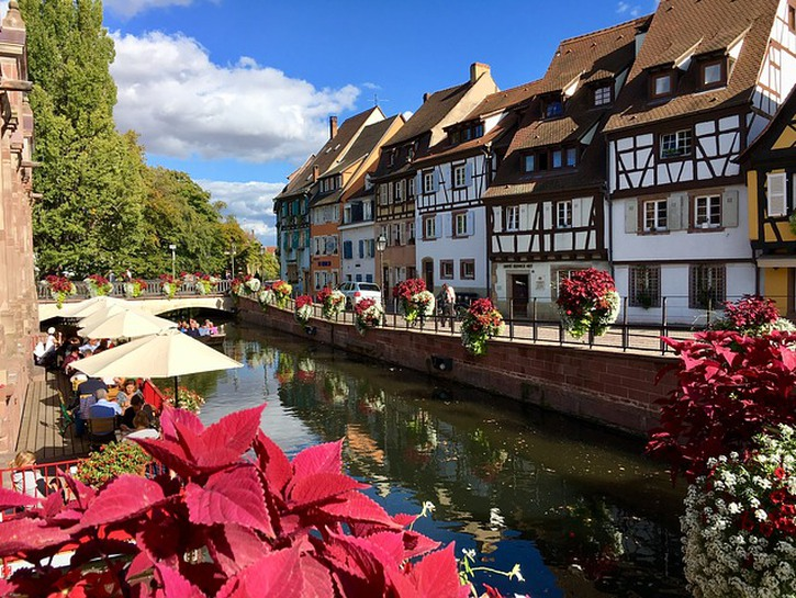 Historic houses along canal, Alsace, France