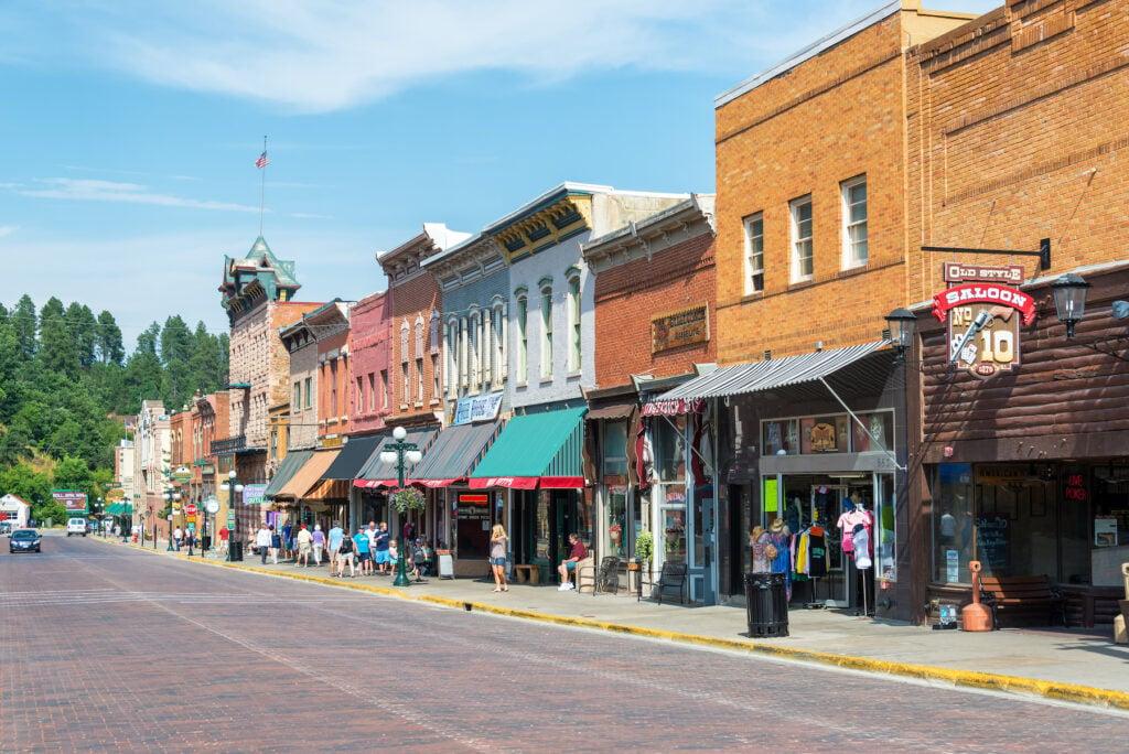 Historic main street in Deadwood, South Dakota.