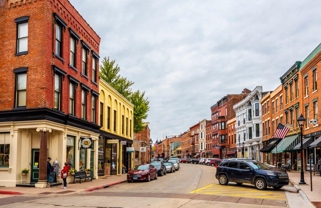 Historic Main Street in Galena, Illinois.
