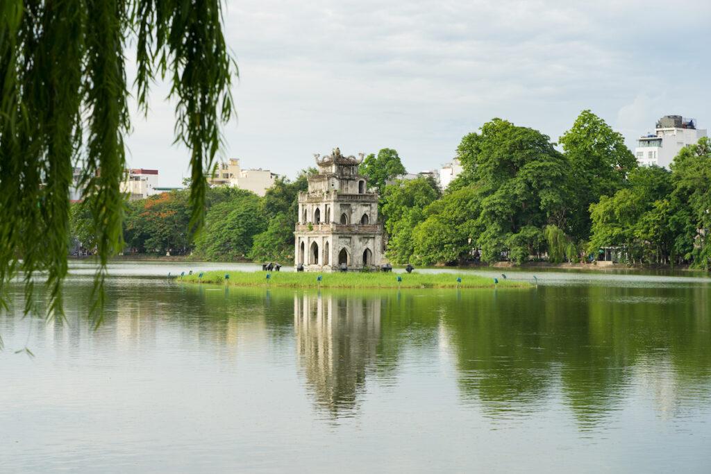 Hoan Kiem Lake in Hanoi, Vietnam.