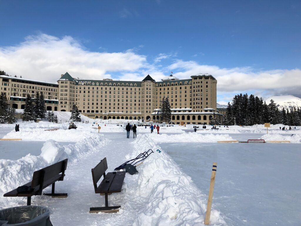 Hockey rinks and the Fairmont Chateau Hotel.