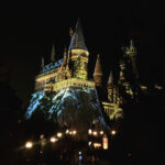 Hogwarts Castle at Universal Studios, decorated for the holidays.