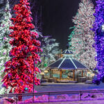 Holiday lights and snow in Leavenworth, Washington.