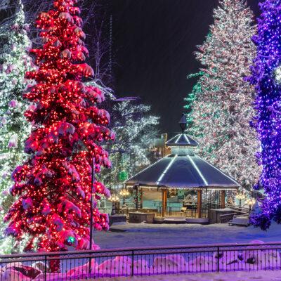 Holiday lights and snow in Leavenworth, Washington.