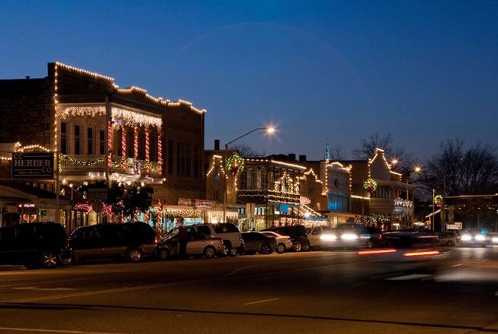 Holiday lights in downtown Fredericksburg.
