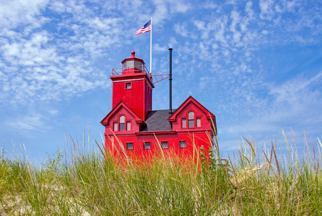 Holland Harbor Lighthouse in Michigan.