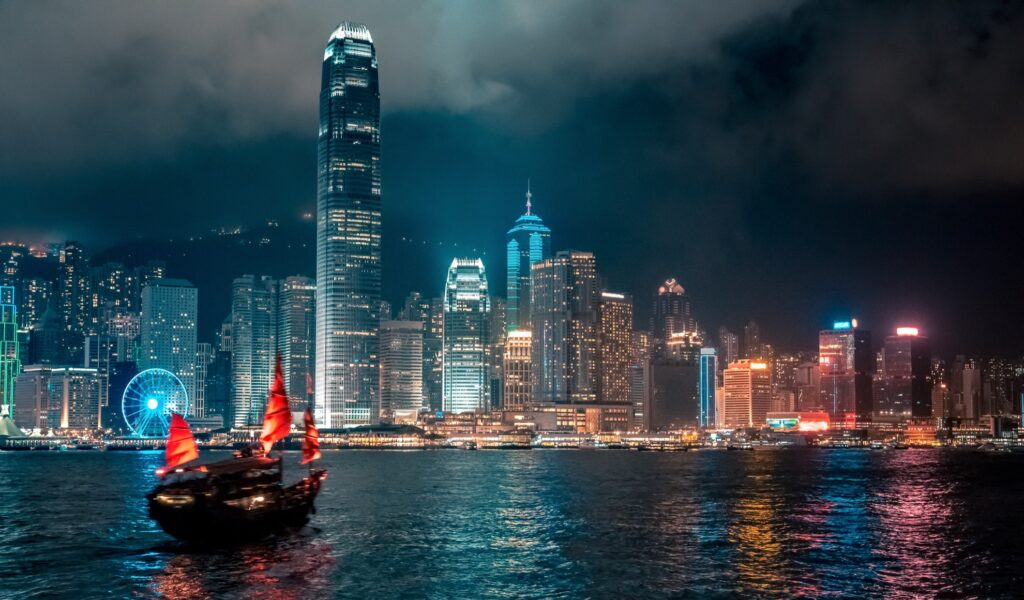 Hong Kong's Victoria Harbor at night.