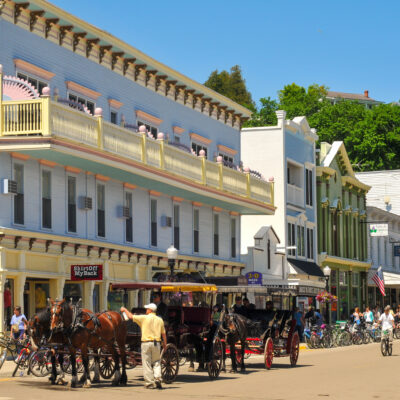 Horse-drawn carriages on Mackinac Island in Michigan.