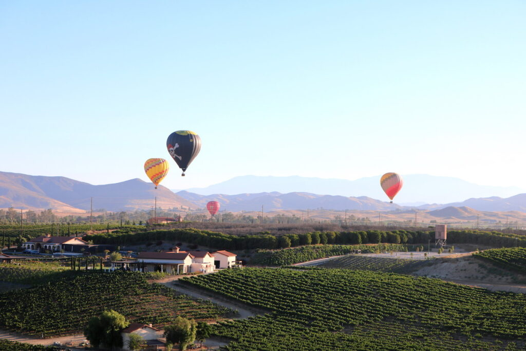 Hot air balloons over Temecula, California.