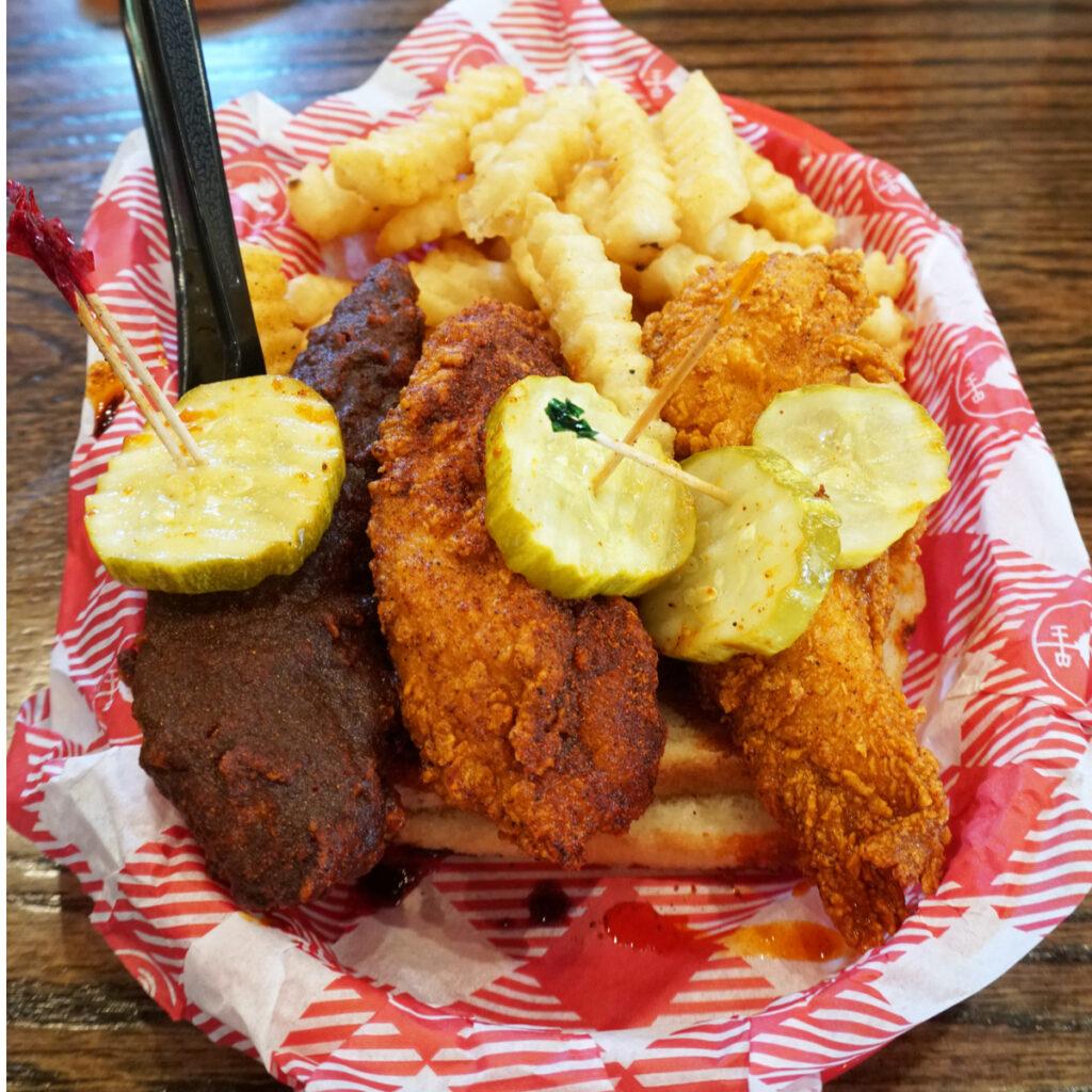 Hot chicken from Hattie B's in Nashville.