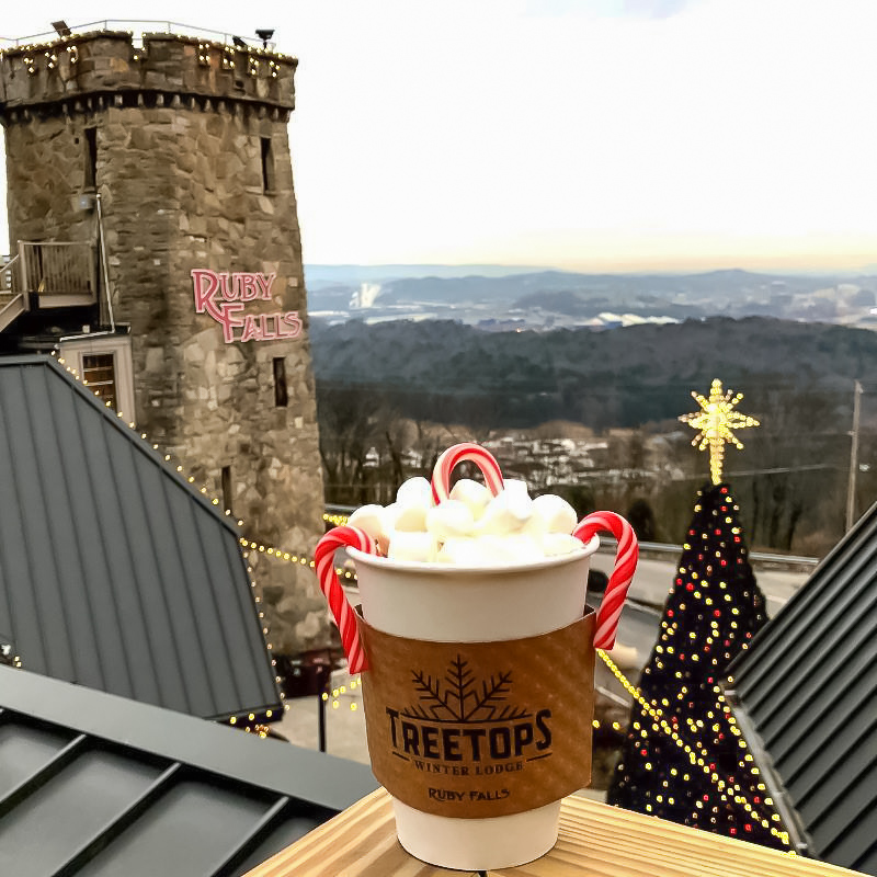 Hot chocolate at Ruby Falls in Chattanooga.