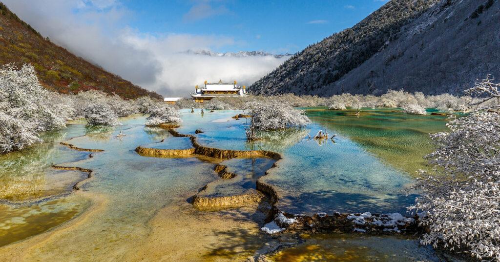 Hot springs at Huanglong National Park in China.