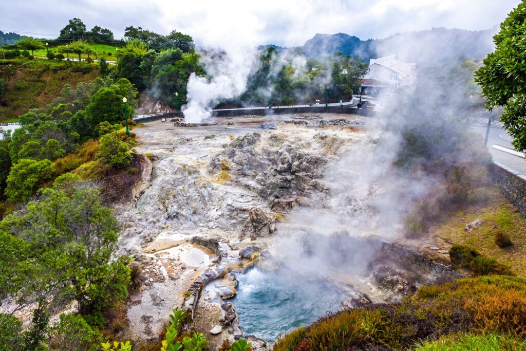 Hot springs in Furnas village in the Azores.
