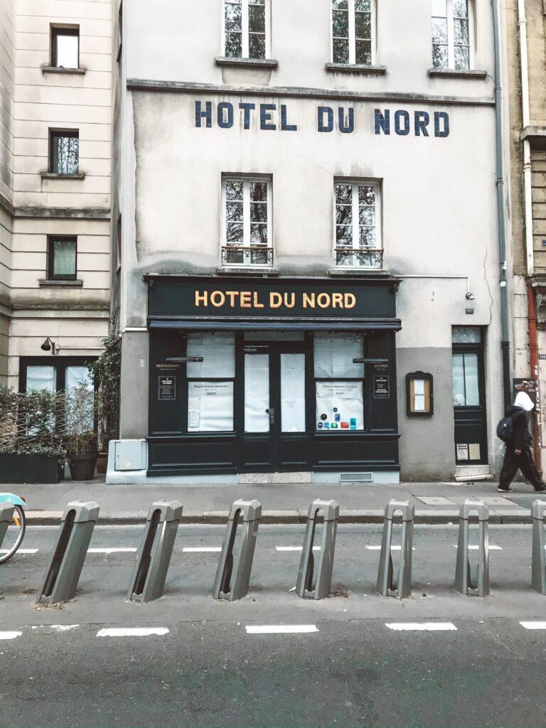 Hotel du Nord in Paris, closed due to Coronavirus.