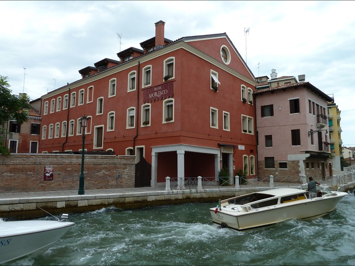 Hotel Moresco, boat sailing past on the canal, Venice
