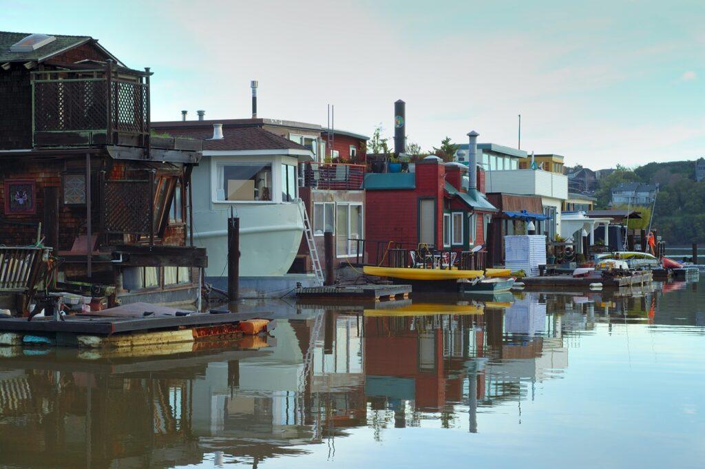 Houseboats in Sausalito, California.