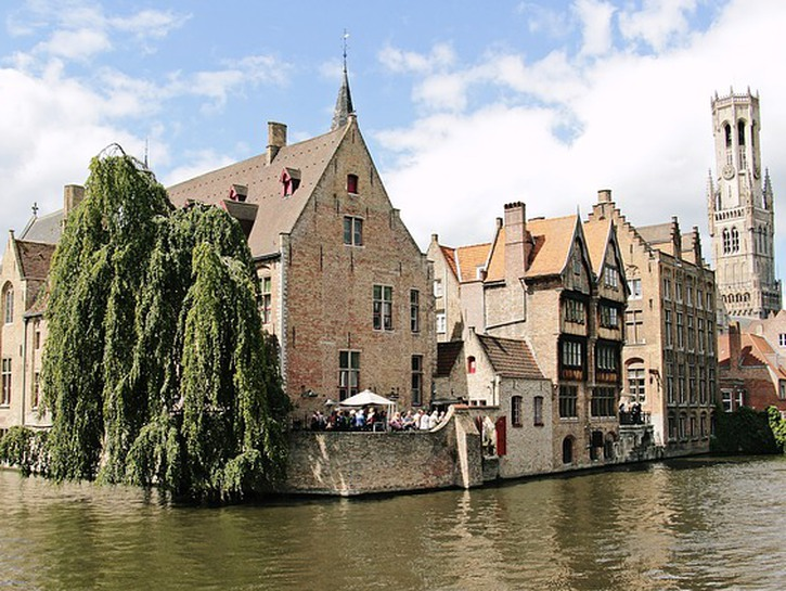 Houses and church along the canal, Bruges