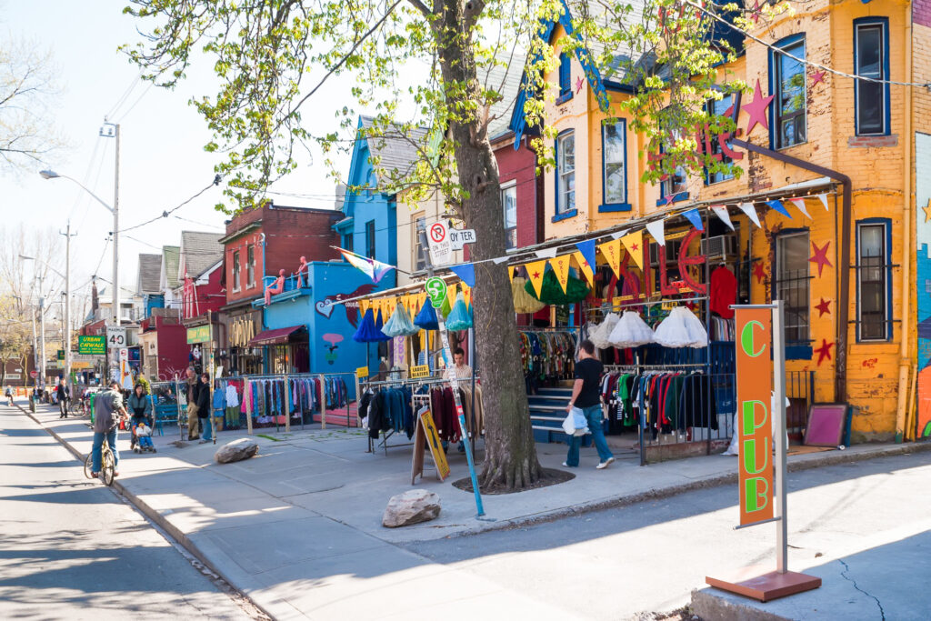 Houses and shops in the Kensington Market neighborhood.