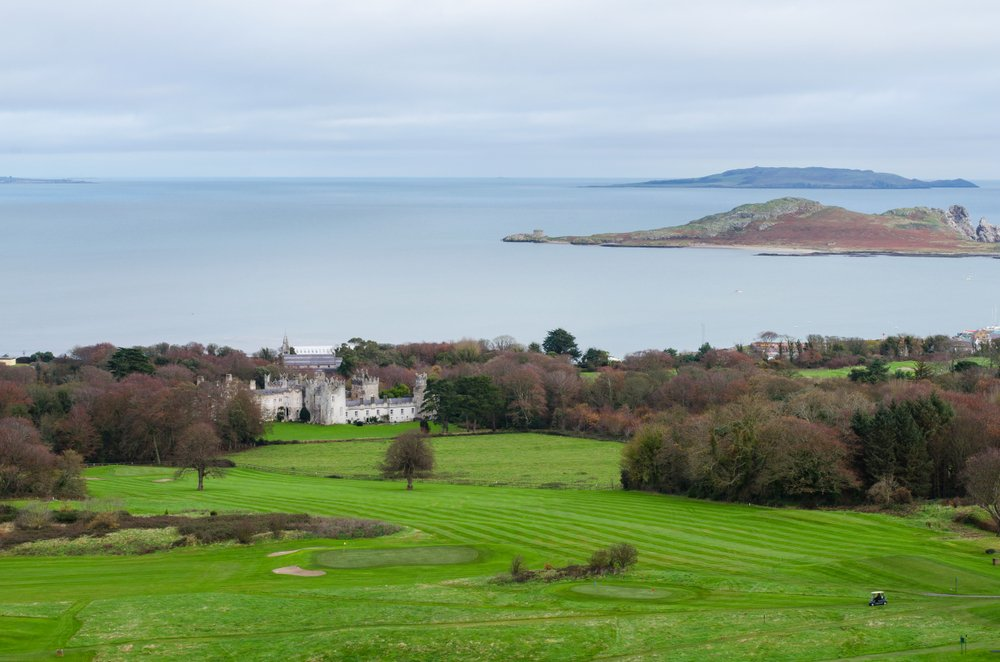 Howth Castle overlooking the sea.
