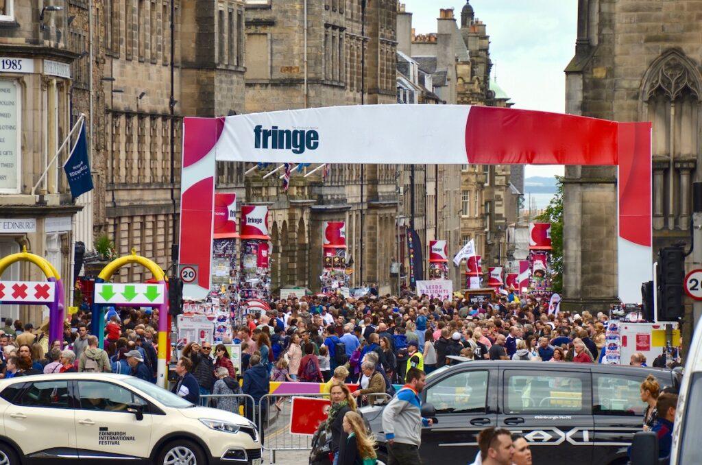 Hundreds of Fringe Festival attendees.