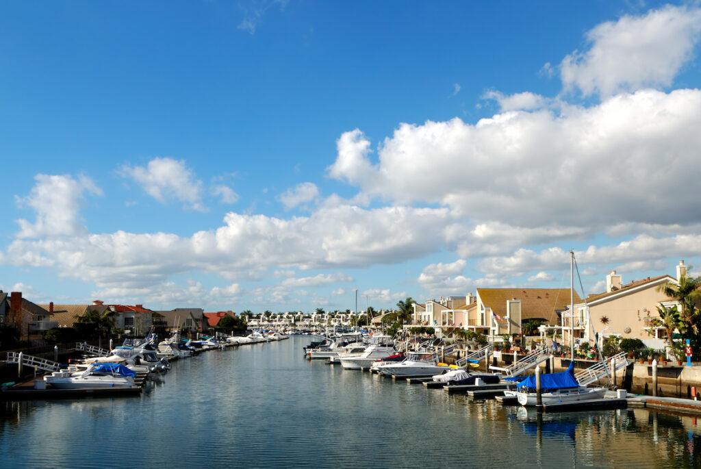 Huntington Harbor in California.