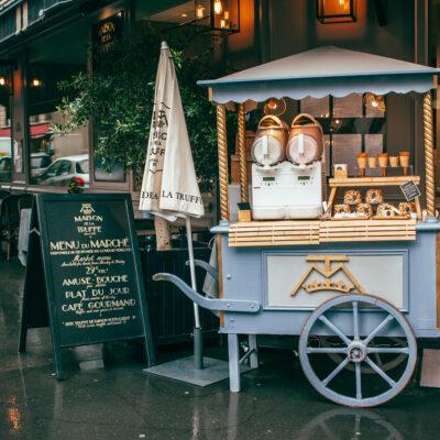 Ice cream vendor cart in Paris, France.