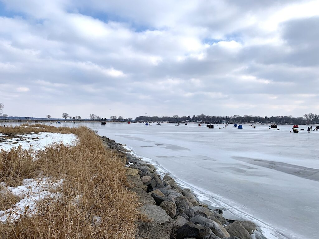 Ice fishing in Madison, Wisconsin.
