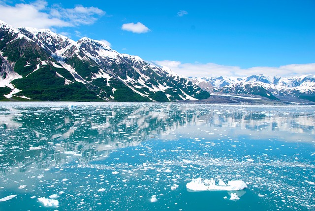 Ice fragments in the water, snowy mountains in the background, Inside Passage, Alaska