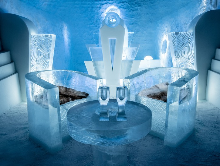 Ice hotel table with chairs