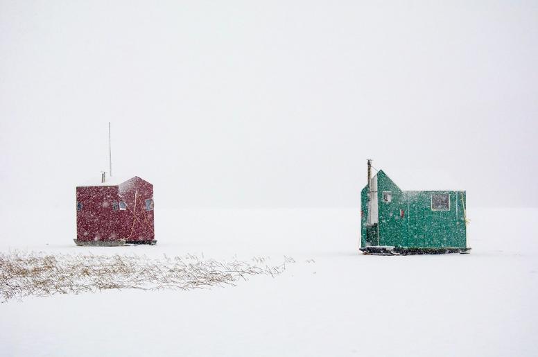 Ice houses in Minnesota.