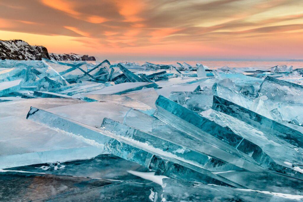 Ice on frozen Lake Baikal.