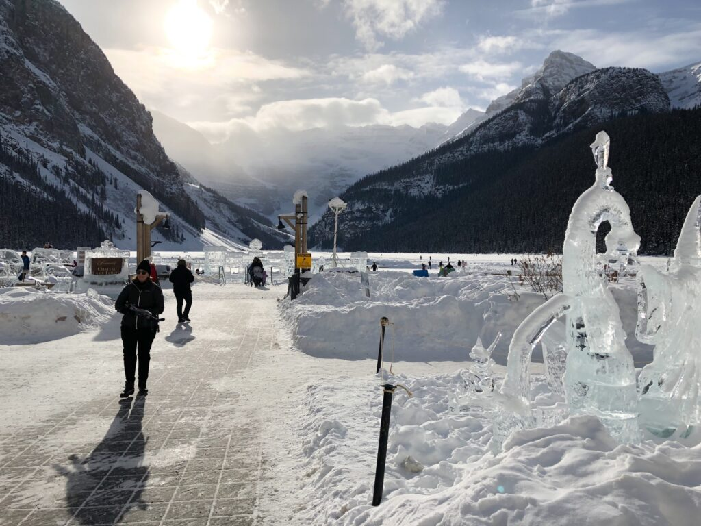 Ice sculptures and skating rinks on Lake Louise.
