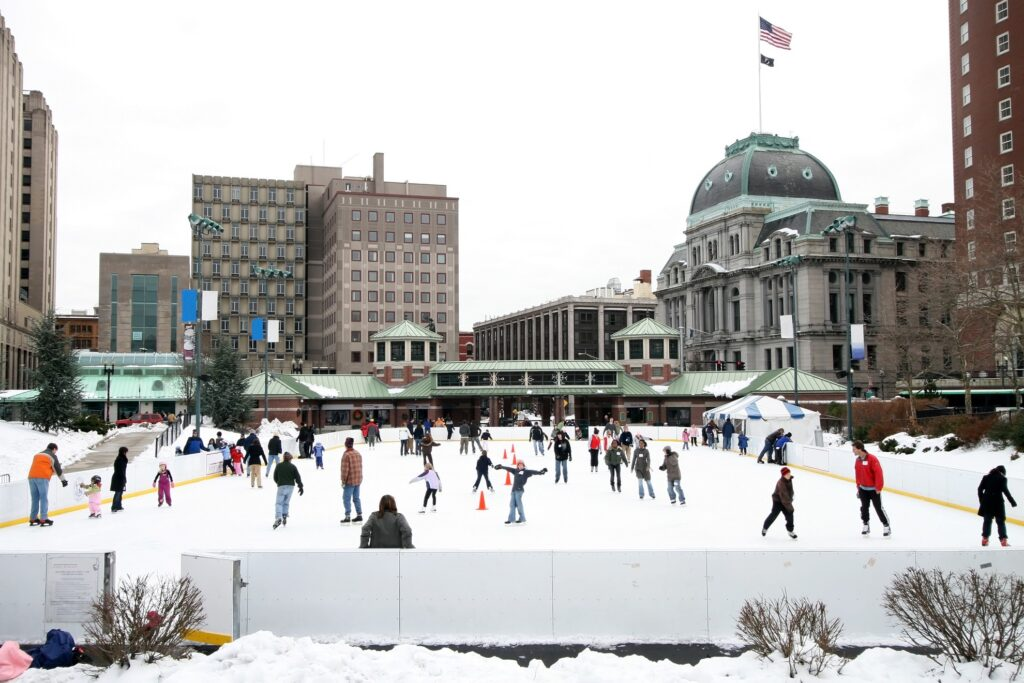 Ice skaters in downtown Providence.