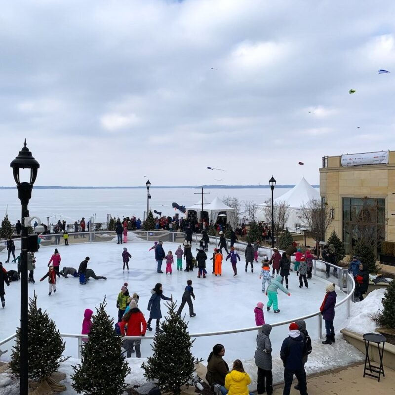 Ice skating during winter time in the Midwestern U.S.A.