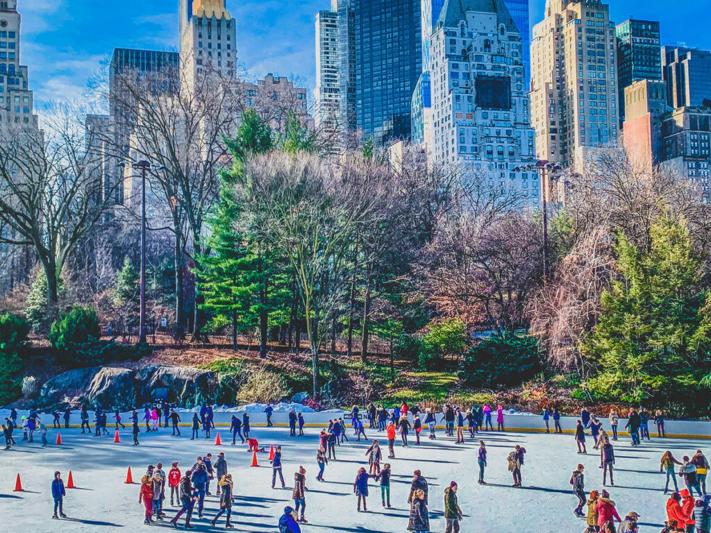 Ice skating in New York City during winter.