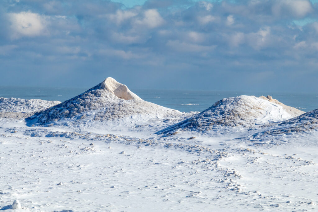 Ice volcanoes on the shores of Lake Michigan.