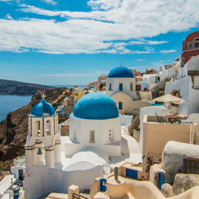 Iconic blue domes in Greece.