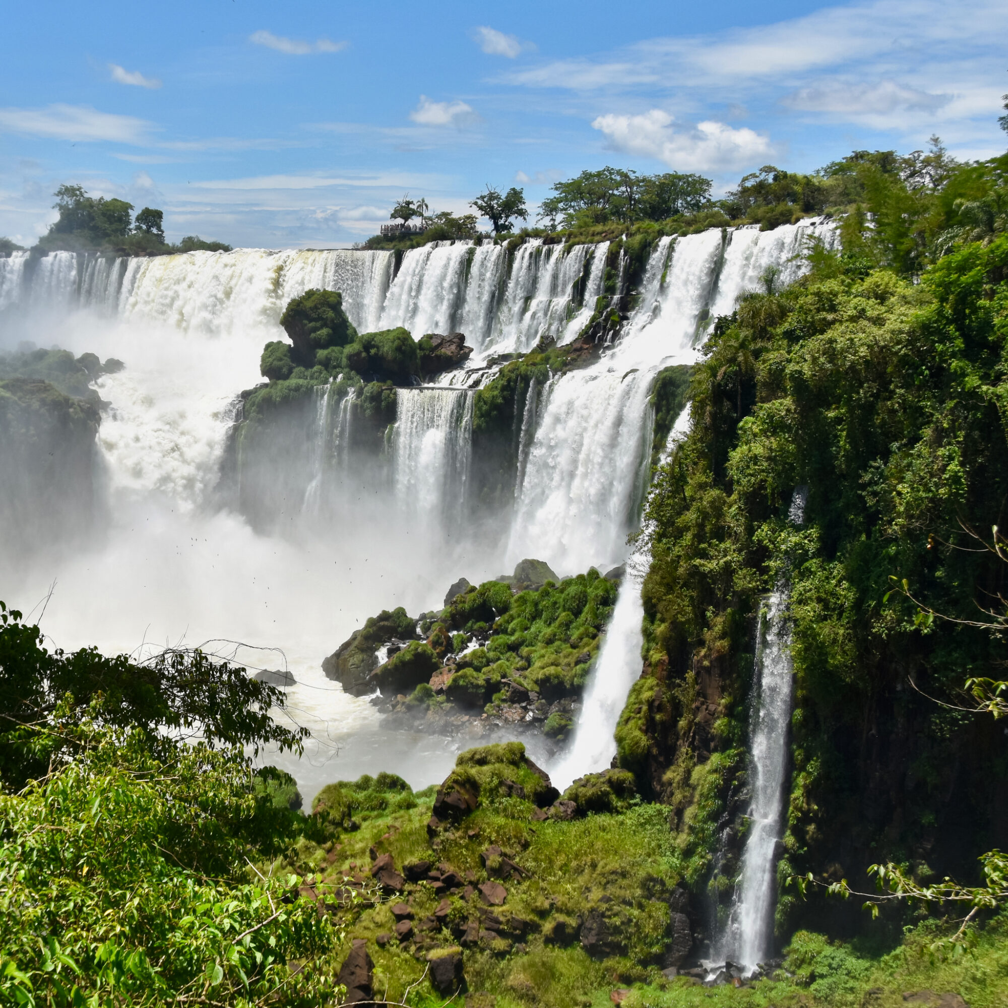 Iguazu Falls at the border between Argentina and Brazil.