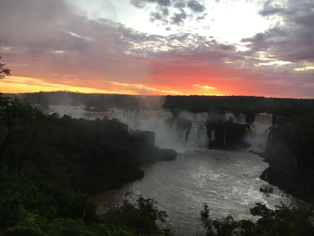 Iguazu Falls at the border between Argentina and Brazil.