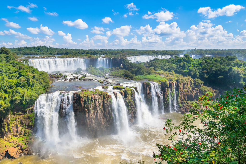 Iguazu Falls on the border of Brazil, Argentina, and Paraguay.