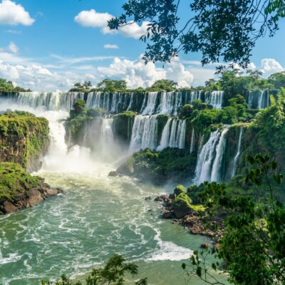 Iguazu Falls on the border of Brazil, Argentina, and Paraguay.