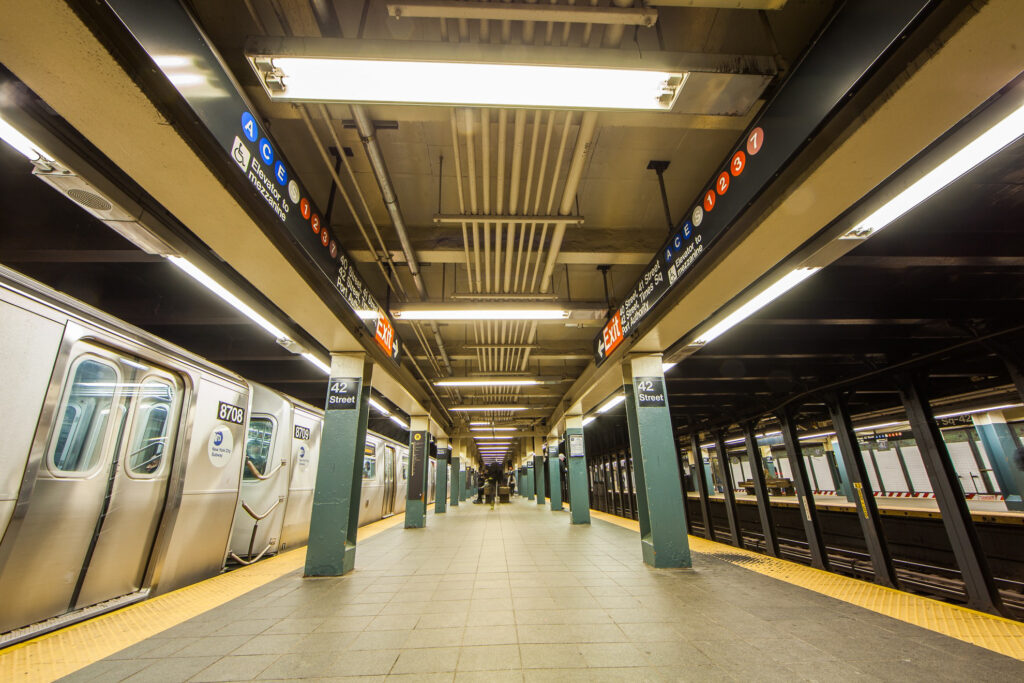 Inside a New York City subway terminal.