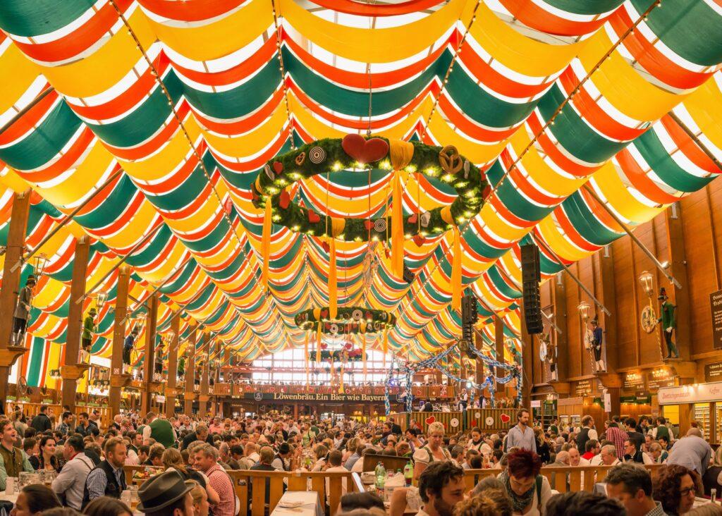 Inside a tent at Oktoberfest.